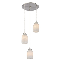 Design Classics Lighting Modern Multi-Light Pendant Light with White Glass and 3-Lights 583-09 GL1020D