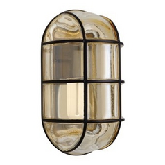 Outdoor Wall Light with Grey Glass in Black Finish
