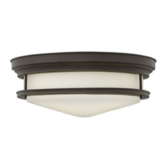 Flushmount Light With White Gl In Oil Rubbed Bronze Finish
