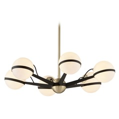 Mid-Century Modern Chandelier Bronze / Brass Ace by Troy Lighting