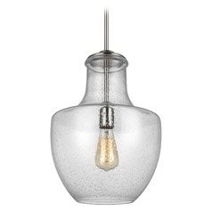 Sea Gull Lighting Baylor Satin Nickel Pendant Light with Urn Shade