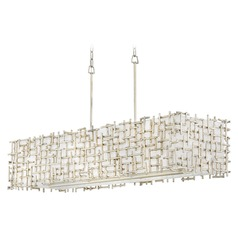 Hinkley Lighting Farrah Silver Leaf Pendant Light with Rectangle Shade