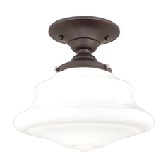 Semi-Flushmount Light with White Glass in Old Bronze Finish
