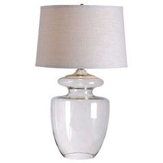 Modern Table Lamp with White Shade in Clear Glass Finish