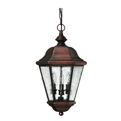Outdoor Hanging Light with Clear Glass in Antique Copper Finish