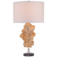 Minka Gold Leaf Table Lamp with Drum Shade