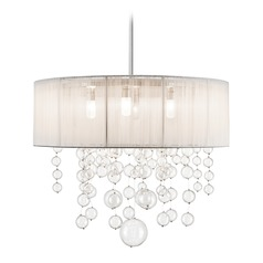 Elan Lighting Imbuia Chrome Pendant Light with Drum Shade
