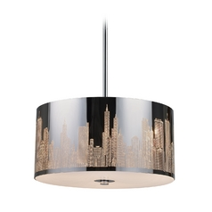 Modern Drum Pendant Light in Polished Stainless Steel Finish