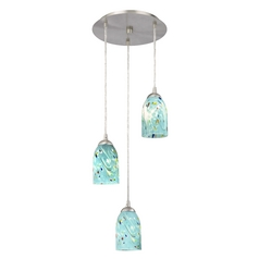 Design Classics Lighting Modern Multi-Light Pendant Light with Blue Glass and 3-Lights 583-09 GL1021D