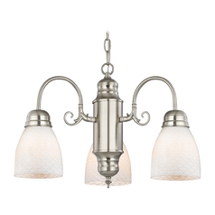 Mini-Chandelier with White Art Glass in Satin Nickel Finish