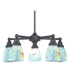 Black Chandelier with Turquoise Glass 5 Lt