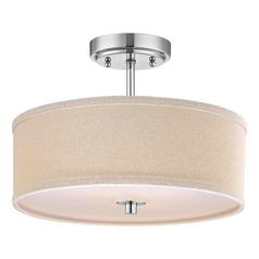 Design Classics Lighting Chrome Drum Ceiling Light with Beige Shade - 14-Inches Wide DCL 6543-26 SH7485 KIT