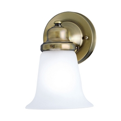 Progress Sconce Wall Light with White Glass in Antique Brass Finish