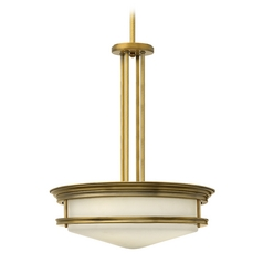 Drum Pendant Light with White Glass in Brushed Bronze Finish