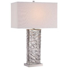 Minka Polished Nickel Table Lamp with Rectangle Shade