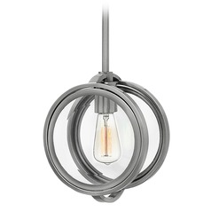Hinkley Lighting Fulham Polished Antique Nickel Pendant Light with Globe Shade