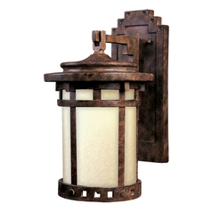 Outdoor Wall Light with Beige / Cream Glass in Sienna Finish