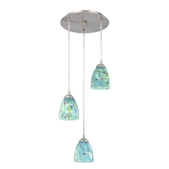 Design Classics Lighting Modern Multi-Light Pendant Light with Blue Glass and 3-Lights 583-09 GL1021MB