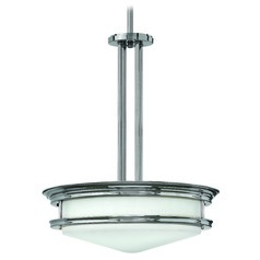 Drum Pendant Light with White Glass in Chrome Finish