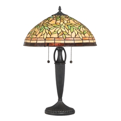 Table Lamp with Multi-Color Glass in Vintage Bronze Finish
