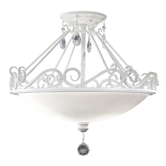 Semi-Flushmount Light with White Glass in Semi Gloss White Finish