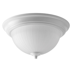 LED Flushmount Light with White Glass in White Finish