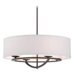 George Kovacs Circuit Smoked Iron Pendant Light with Cylindrical Shade