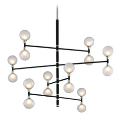 Mid-Century Modern Pendant Light Black and Polished Nickel Andromeda by Troy Lighting