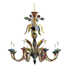 Chandelier with Multi-Color Glass in Multicolor Finish