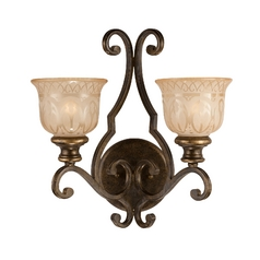Sconce Wall Light with Beige / Cream Glass in Bronze Umber Finish