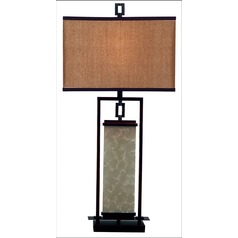 Modern Table Lamp with Gold Shade in Oil Rubbed Bronze Finish