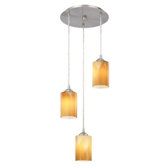 Design Classics Lighting Modern Multi-Light Pendant Light with Brown Art Glass and 3-Lights 583-09 GL1022C