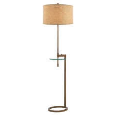 Gallery Tray Floor Lamp with Glass Table and Linen Weave Shade