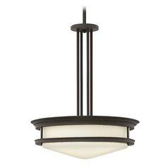 Drum Pendant Light with White Glass in Oil Rubbed Bronze Finish