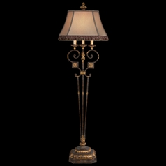 Fine Art Lamps Castile Antiqued Iron with Gold Leaf Floor Lamp with Bell Shade