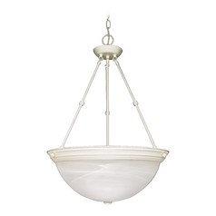 Pendant Light with Alabaster Glass in Textured White Finish