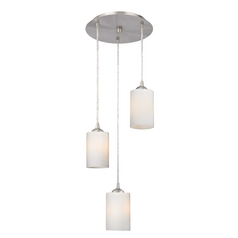Design Classics Lighting Modern Multi-Light Pendant Light with White Glass and 3-Lights 583-09 GL1024C