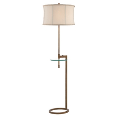 Gallery Tray Floor Lamp with Glass Table and Drum Shade