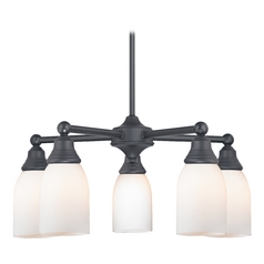 Black Chandelier with White Glass 5 Lt