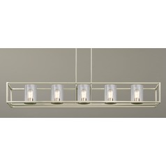 5-Light Linear Chandelier with Clear Glass in Satin Nickel
