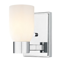 Satin White Glass Sconce Chrome