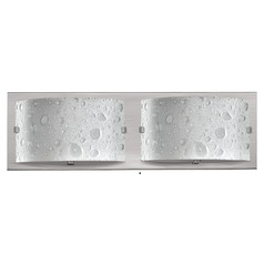 Modern Bathroom Light with Bubble Art Glass in Brushed Nickel Finish