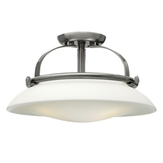 Semi-Flushmount Light with White Glass in Brushed Nickel Finish