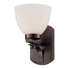 Sconce Wall Light with White Glass in Hazel Bronze Finish