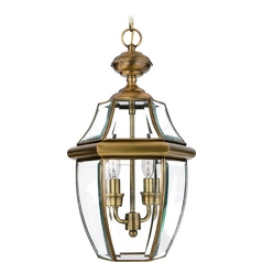 Outdoor Hanging Light with Clear Glass in Antique Brass Finish