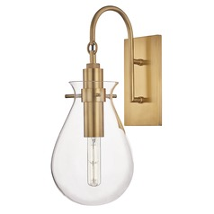 Hudson Valley Aged Brass Sconce with Clear Glass Shade