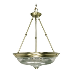 Pendant Light with Clear Glass in Antique Brass Finish