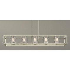 Seeded Glass Linear Chandelier Satin Nickel 5 Lt
