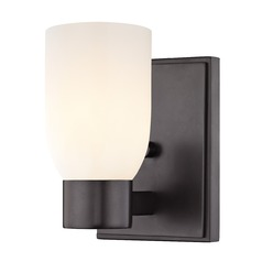 Satin White Glass Sconce Bronze