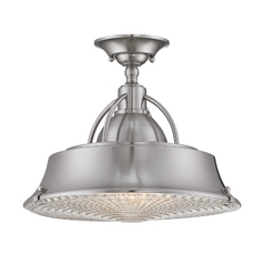 Farmhouse Semi-Flushmount Light Brushed Nickel Cody by Quoizel Lighting